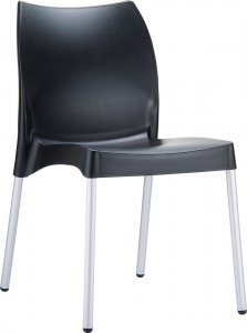 VITA  Recyclable polypropylene seat and backrest and anodized aluminium legs. Diameter 25 mm. For indoor and outdoor use.