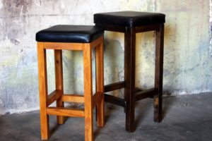 Leather  & Hide Wooden Barstools  450mm high   650mm high  750mm high