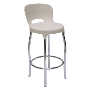 PUB Stool Polypropylene   Frame finishes available: Chrome  Brushed Chrome   Available also with upholstered Seats Various colours of fabric/leatherrette to choose from   Size: 380w x 380d 650h to 800h   Colours: Beige - Black - White   2 Year Warranty