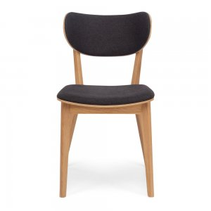 ZURI   Chair  Style Contemporary Scandinavian  Timber Oak  Colour Grey   Construction Solid Oak with a ply seat base covered in high density foam. Easy clean 100% Polyester upholstery tested for durability and strength. Oak feature screw caps on back support.  Dimension W45 D56 H81 SH47cm