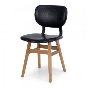 SANTIAGO   Style Contemporary  Timber Oak  Colour Vintage Black  Construction Solid Timber Legs in a natural wash finish with a ply seat base covered in high density foam. PU seat cover in a vintage finish and detail piping braced with matt black metal supports.  Dimension W37.5 D50 H79 SH47.5cm