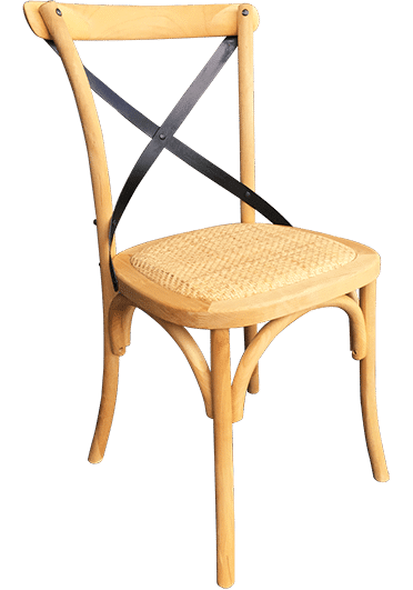 CROSSBACK    Rattan Seat  FRAME Birchwood with Black powder coated steel straps