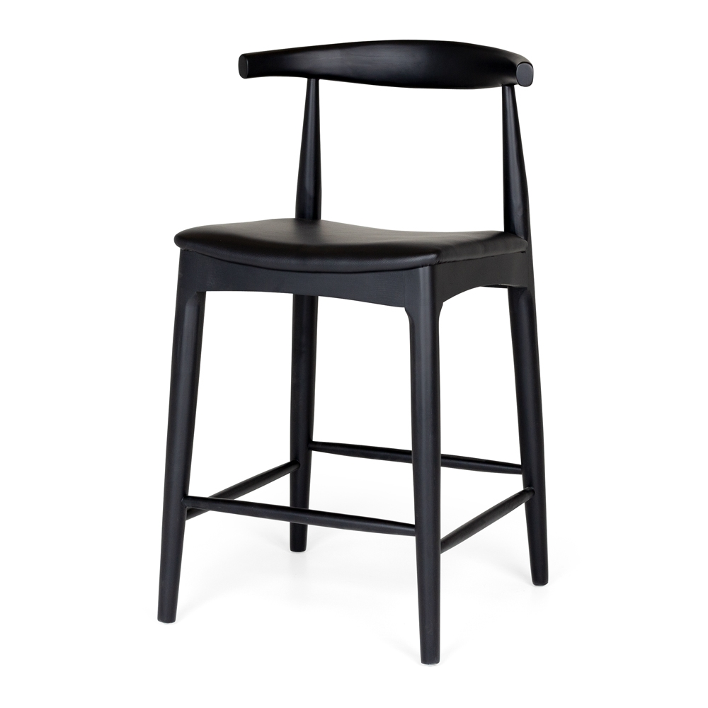 Elbow Barstool    Timber Black Oak        Black Leatherette Seat  Solid  Timber Black Oak  with a durable semi-gloss finish and stoppers on feet.  Dimension W55 D50 H94 SH65CM