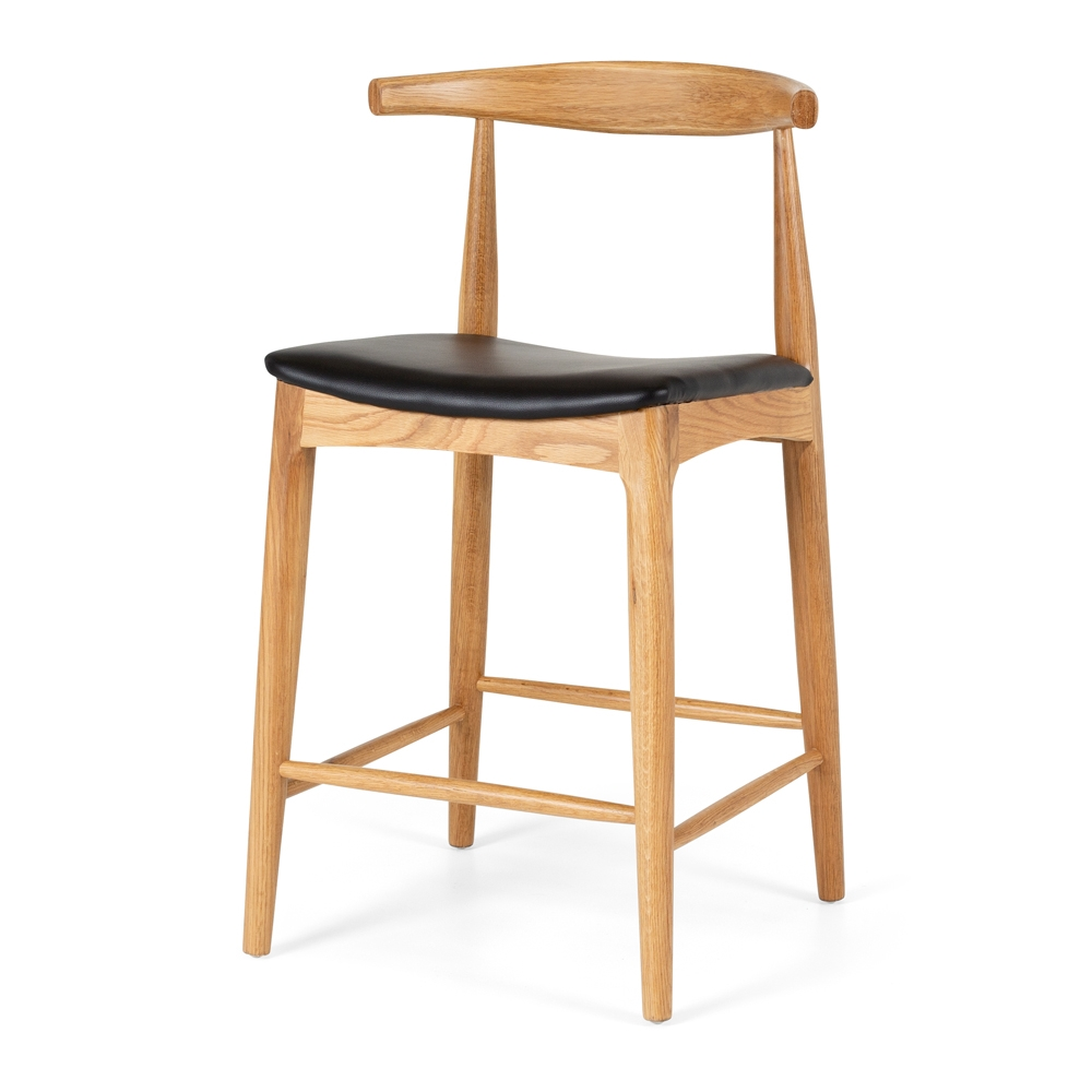 Elbow Barstool Natural Oak Black PU leatherette Seat Style Scandinavian  Timber White Oak  Construction Solid Oak frame with a durable semi-gloss finish and stoppers on feet.  Dimension W55 D50 H94 SH65CM