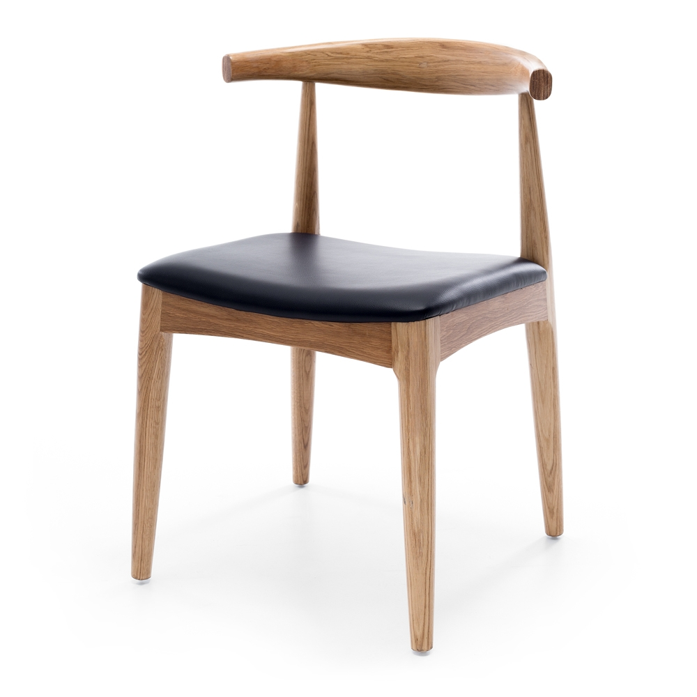 ELBOW replica chair was designed by Hans J. Wegner in 1956.  Dimension W55 D50 H76 SH48cm  Style Scandinavian  Timber White Oak  Colours Natural w/Black Vinyl Seat,   Construction Solid Oak frame with adurable semi-gloss finish, PU seat and stoppers on feet.