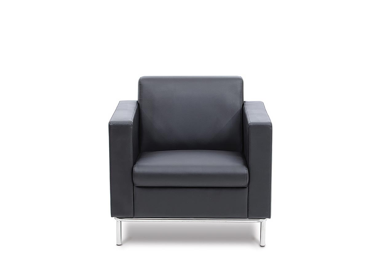 NEO  1-Seater features an extra strong stainless steel leg frame, is stylish and sturdy, and upholstered in durable black leatherette.
