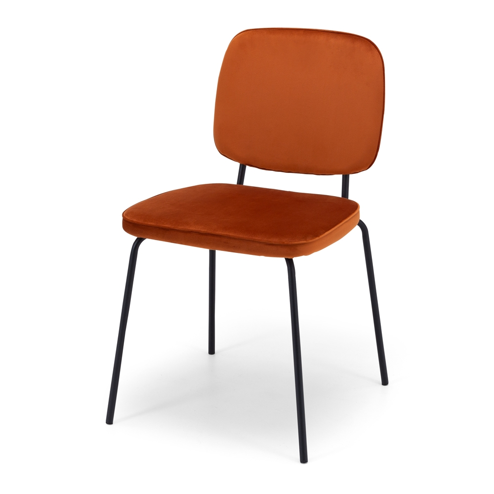 CLYDE  Style Contemporary  Metal Black   Colours Burnt Orange.  Construction Tubular black powdercoated metal legs, full solid anti-sag plywood frame, velvet polyester fabric  Dimension W49 D48 H82 SH47cm