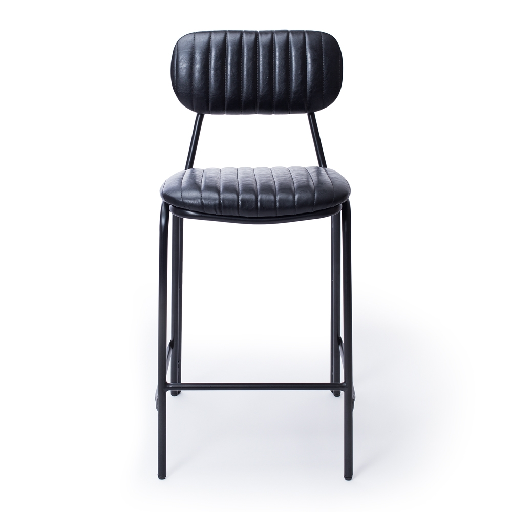 Vintage Black Dackar Barstool  Dimension W43 D49 H95 SH65cm  Style Industrial   Brushed metal frame, solid ply seat, high density foam. PU upholstery features single stitch detailing and piping.