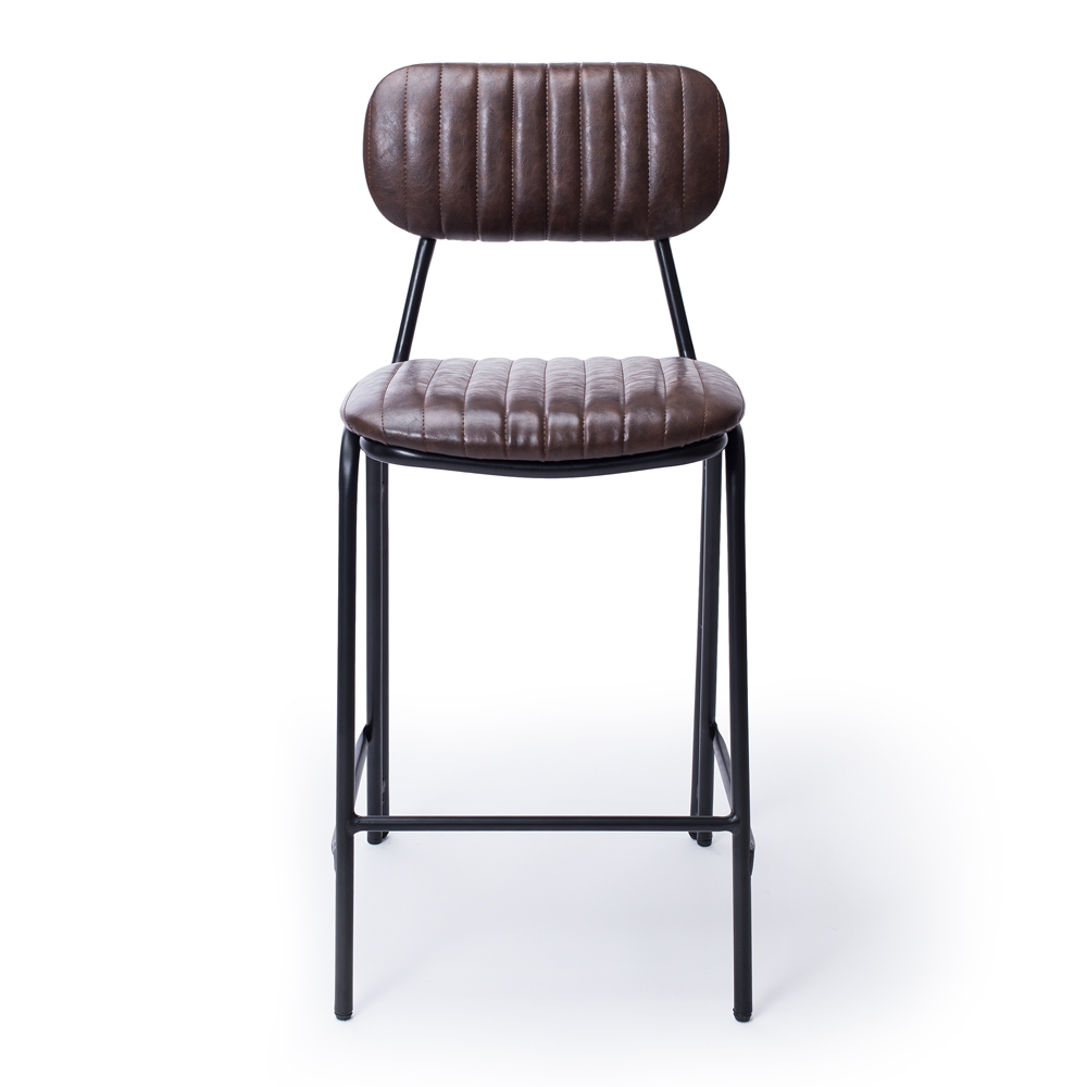 Vintage Dark Brown  Dackar Barstool  Dimension W43 D49 H95 SH65cm  Style Industrial   Brushed metal frame, solid ply seat, high density foam. PU upholstery features single stitch detailing and piping.