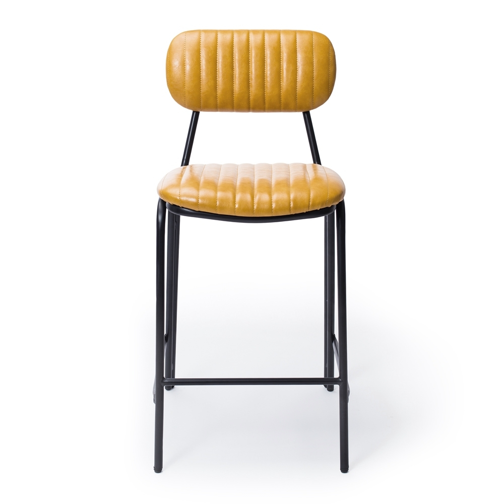 Vintage Yellow  Dackar Barstool  Dimension W43 D49 H95 SH65cm  Style Industrial   Brushed metal frame, solid ply seat, high density foam. PU upholstery features single stitch detailing and piping.