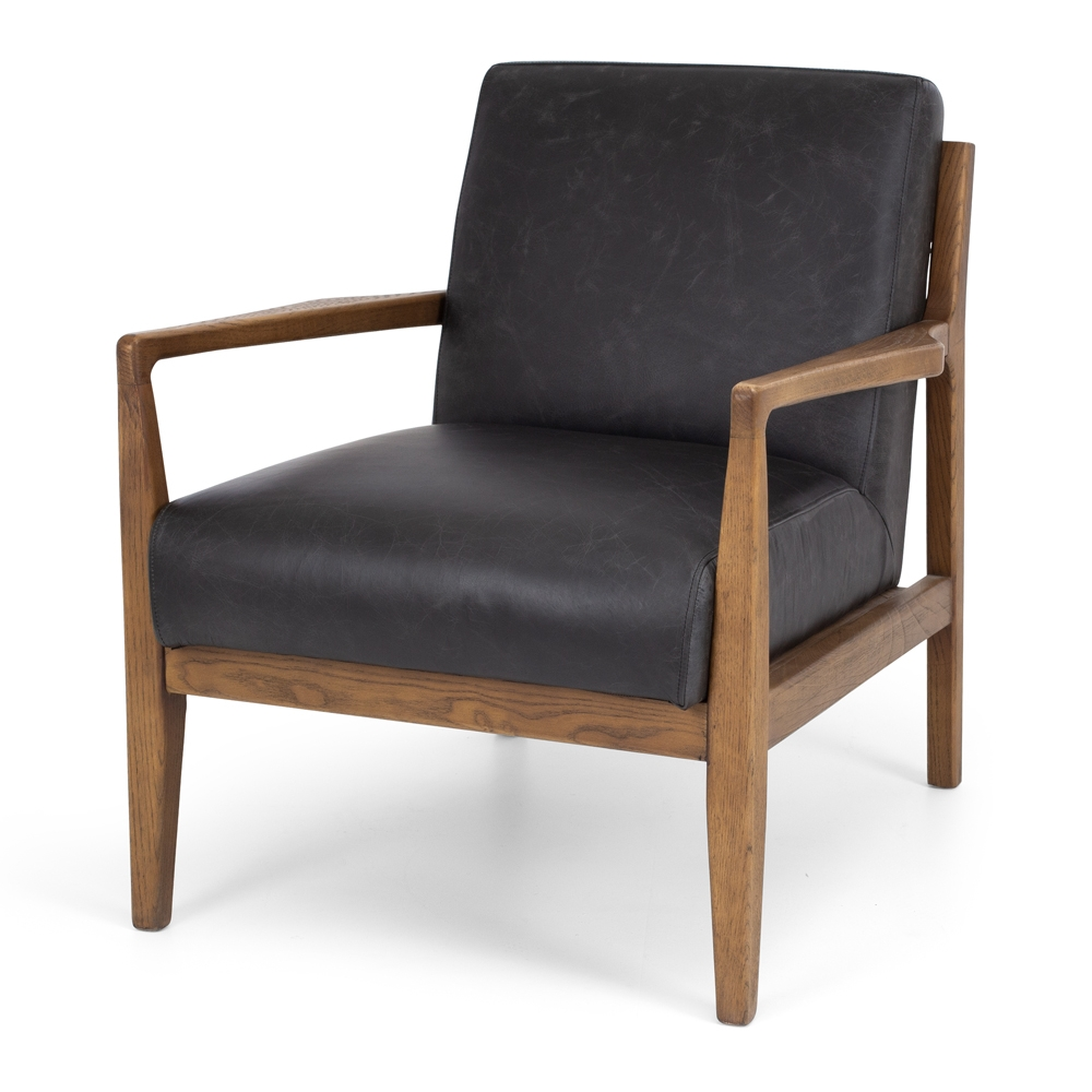 OLLA Armchair Tan Leather Style Mid-Century Timber Smoked Oak Colour Black Leather Construction Solid Oak frame, foam and Top Grade Aniline Leather Dimension W70 D83 H81cm