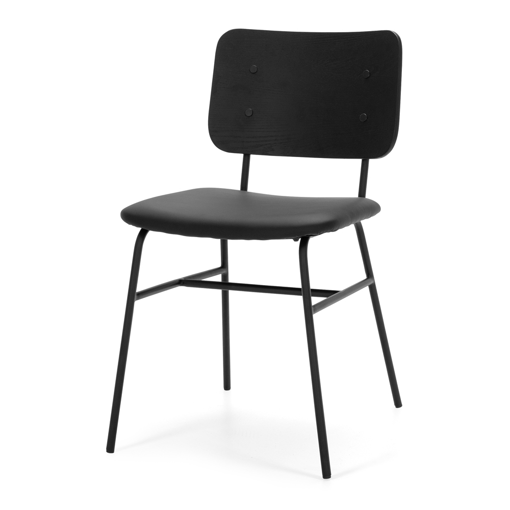 LUCCA  Chair Black Panel Style Scandinavian  Metal Black Iron  Colours Black ASH Panel or Natural ASH Panel back  Construction Internal Construction steel frame + plywood, cover sponge/foam. Vintage PU seat, round iron tube legs  Dimension W45 D56 H79 SH47.5CM