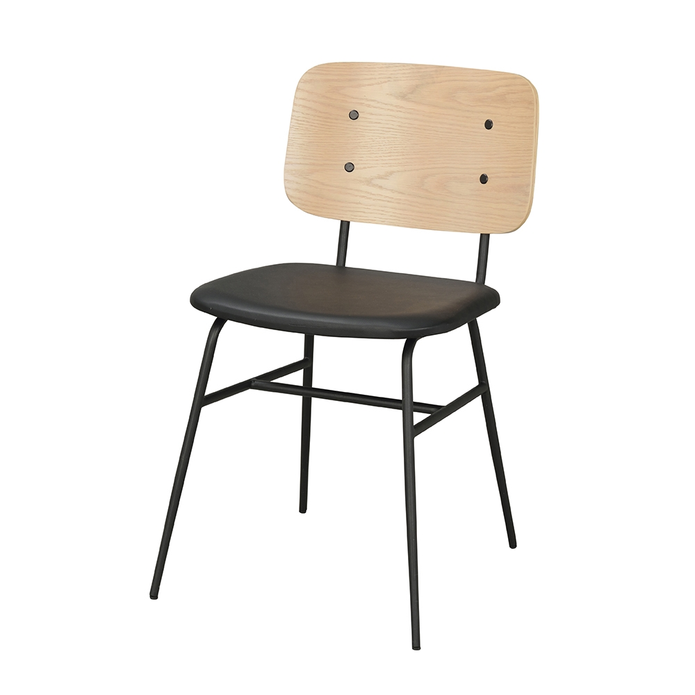 LUCCA  Chair Natural Panel   Style Scandinavian  Metal Black Iron  Colours Black ASH Panel or Natural ASH Panel back  Construction Internal Construction steel frame + plywood, cover sponge/foam.  Vintage PU seat, round iron tube legs  Dimension W45 D56 H79 SH47.5CM