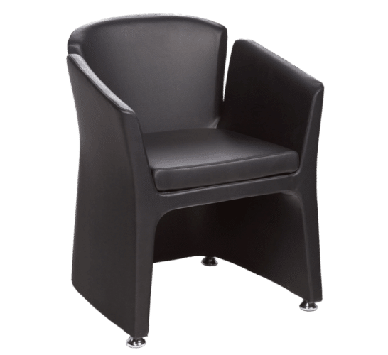 PRIMIER  SEAT Bi-coloured leather   DIMENSIONS H740 | W580 | D480 | S440   A supportive, warm chair to nestle into.  A set of two or three can create intimate conversation pods.  Colours available are: Black & Grey, Chocolate & Light brown, Black & Black