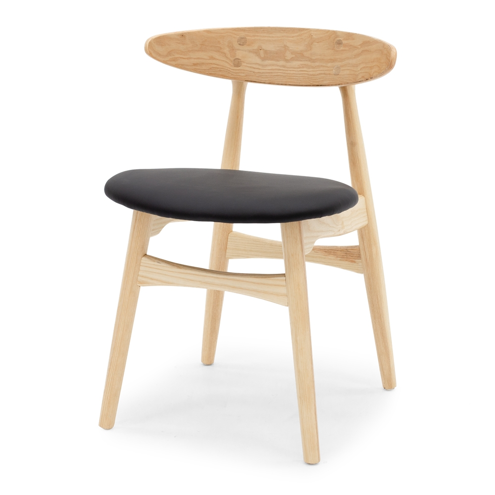 KARAKA Chair Natural   Style Scandinavian  Timber Ashwood  in  Natural w/Black PU Seat Construction Solid Ashwood frame with high density foam and ply seat base. PU seat and stoppers on feet.  Dimension W50.5 D55 H74cm