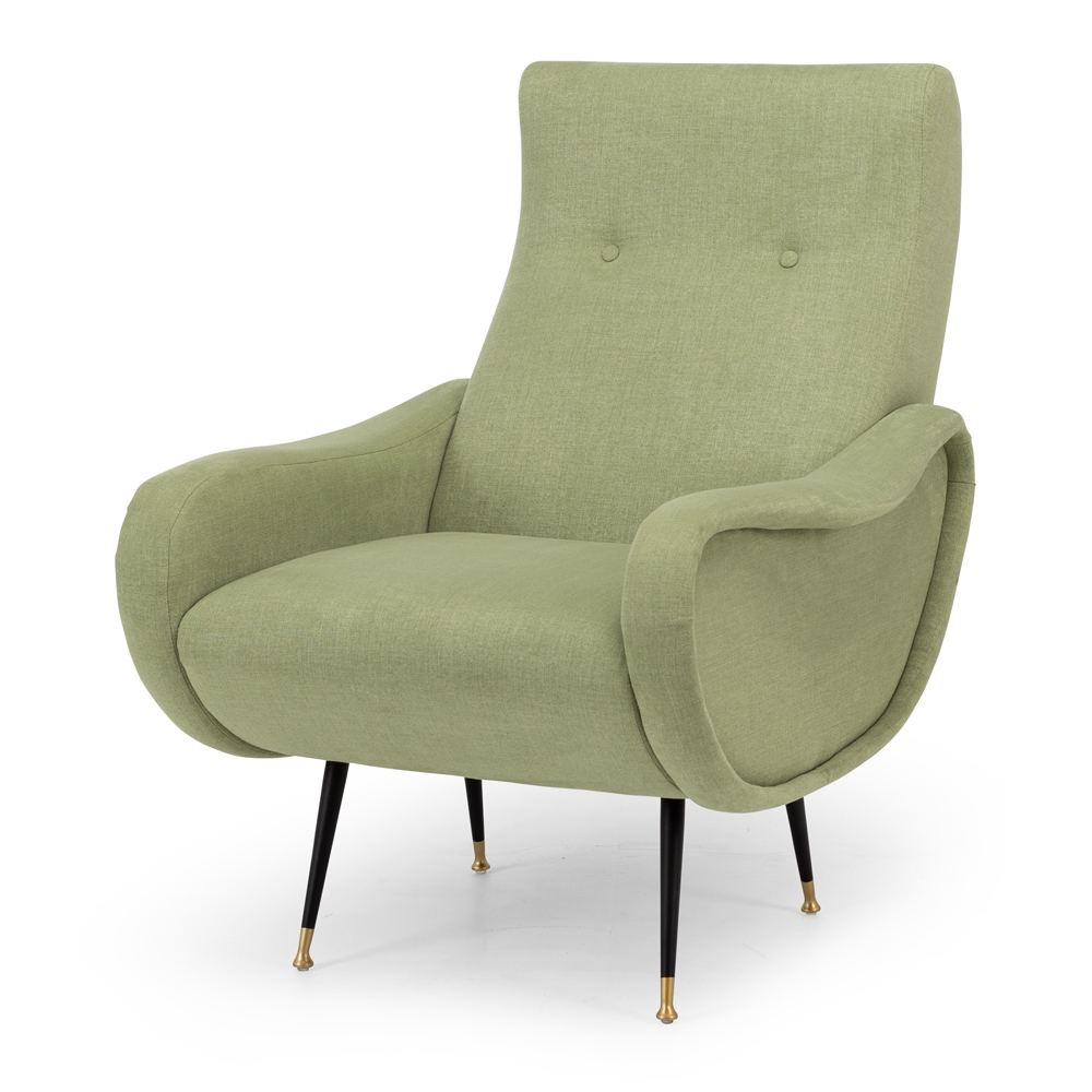 JetsArmchair Style Mid-Century Classic  Colour Moss  Construction Plywood internals, high density foam, pulled button detailing, matt metal legs with brass feet and clear stoppers on feet. 100% easy clean Polyester upholstery.  Dimension W64 D73 94CM