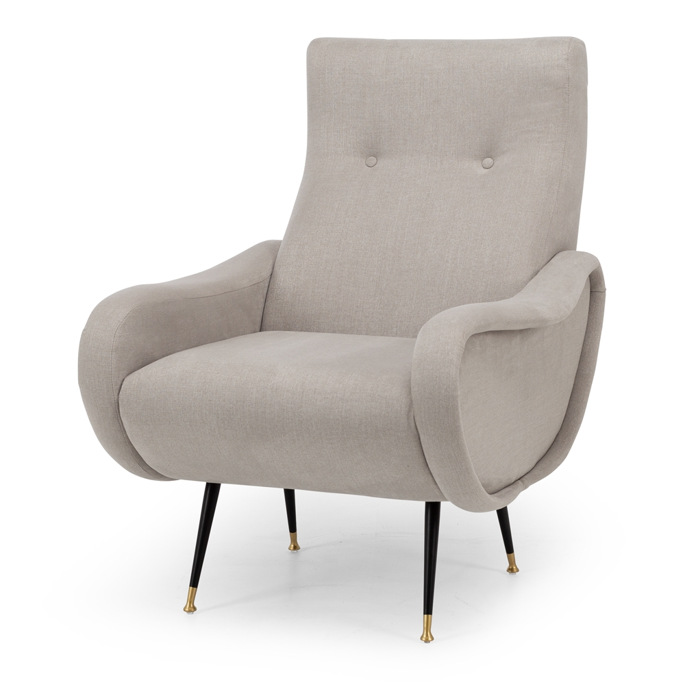 etsArmchair  Colour Stone  Construction Plywood internals, high density foam, pulled button detailing, matt metal legs with brass feet and clear stoppers on feet. 100% easy clean Polyester upholstery.  Dimension W64 D73 94CM