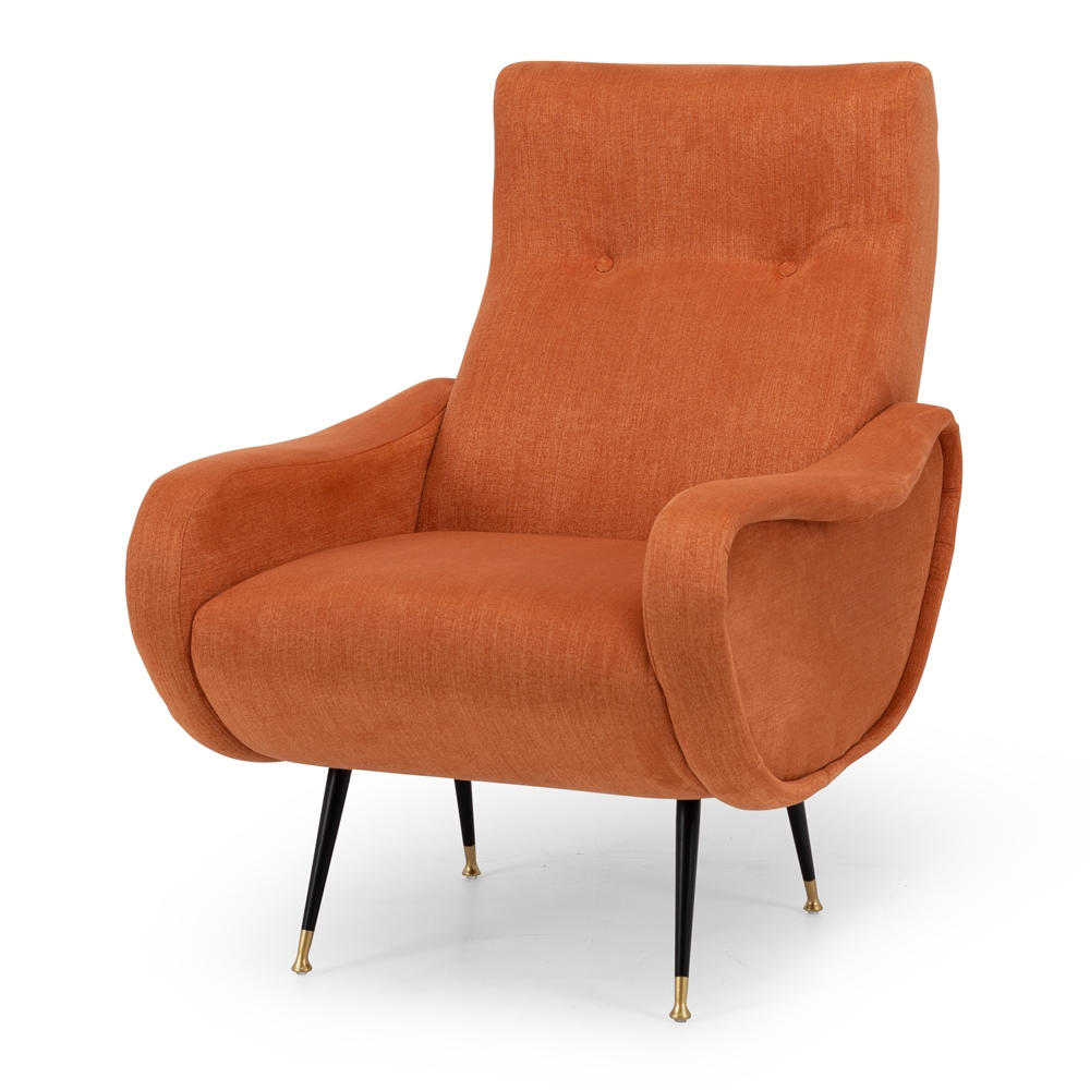 JetsArmchair Style Mid-Century Classic  Colour Terracotta  Construction Plywood internals, high density foam, pulled button detailing, matt metal legs with brass feet and clear stoppers on feet. 100% easy clean Polyester upholstery.  Dimension W64 D73 94CM