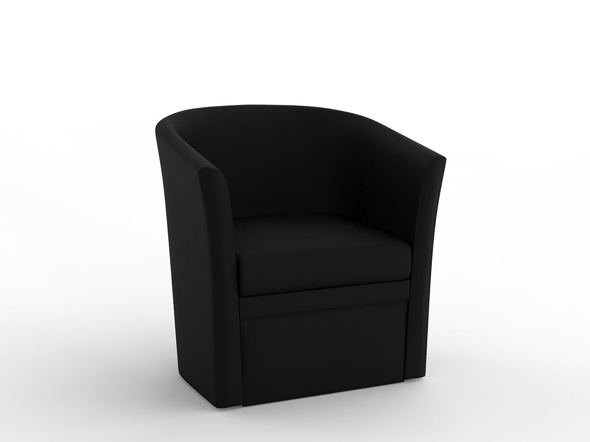 TUB  It has an attractive flared shape, with comfortable supportive cushioning, and is upholstered in black PU.