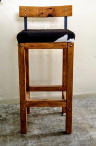High Back Wooden Barstools Upholstered cowhide or leather