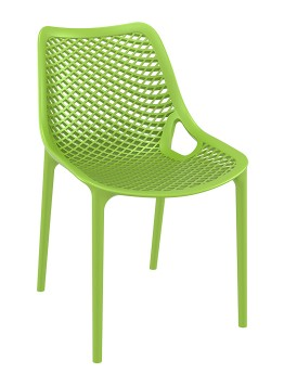 Oxygen  Tropical green chair is produced with a single injection of polypropylene reinforced with glass fiber obtained by means of the latest generation of air moulding technology with neutral tones. For indoor and outdoor use.