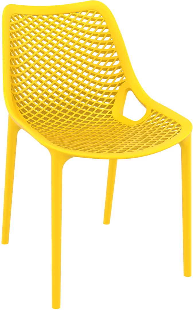 Oxygen yellow chair is produced with a single injection of polypropylene reinforced with glass fiber obtained by means of the latest generation of air moulding technology with neutral tones. For indoor and outdoor use.