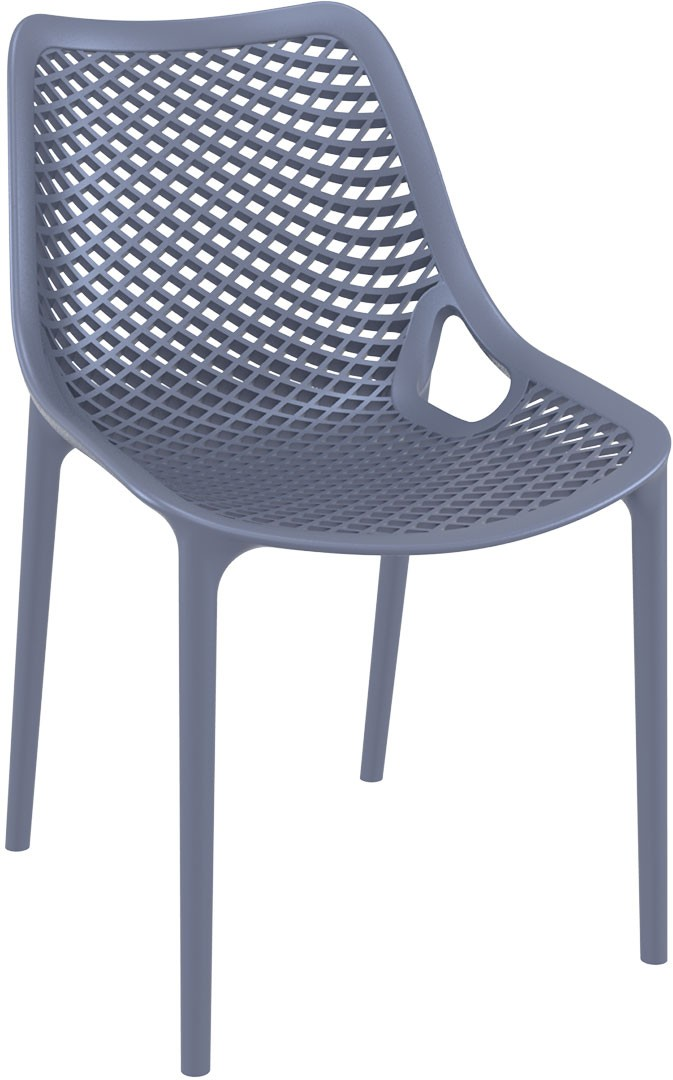 Oxygen  dark grey chair is produced with a single injection of polypropylene reinforced with glass fiber obtained by means of the latest generation of air moulding technology with neutral tones. For indoor and outdoor use.